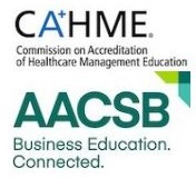 CAHME logo and AACSB logo