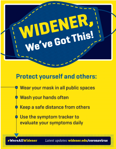 Widener, We've Got This! Protect Yourself & Others: (1) Wear a Mask in all public spaces (2) Wash your hands often (3) Keep a safe distance from others (4) Use the symptom tracker to evaluate your symptoms daily