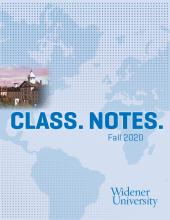 Class. Notes. Fall 2020 with muted map and photo of Old Main