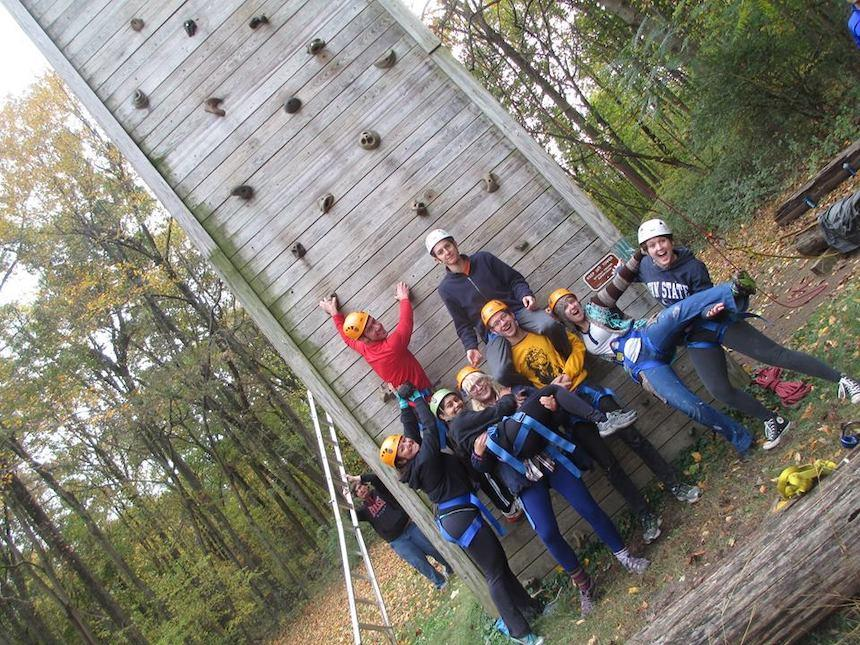 students go rock climbing at Summit Widener