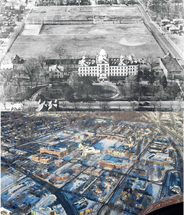 1942 and 2014 aerial photos of widener campus