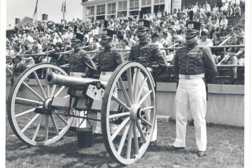 Historic photo of canon at the football game