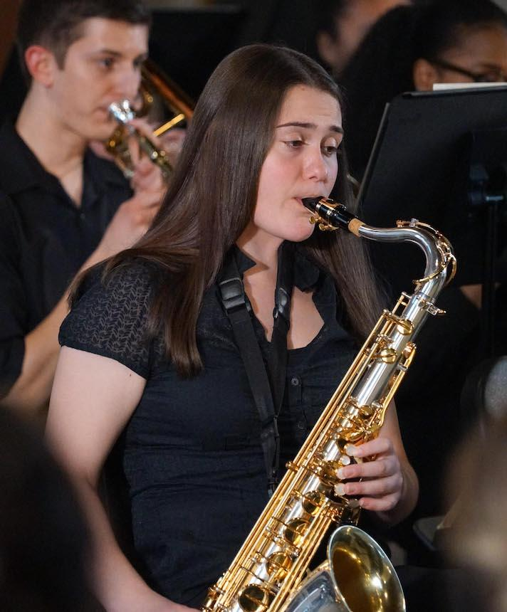 Widener Band Member Playing Brass Instrument