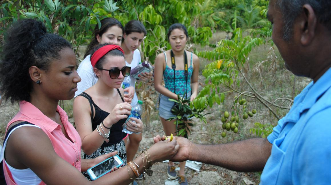 Students in Costa Rica on coffee farm