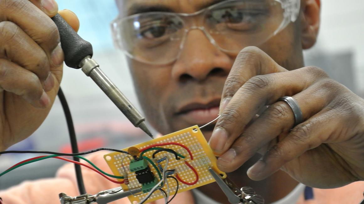 Electrical engineering student hands-on