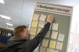 Courage Day Student Posting on Courage Wall