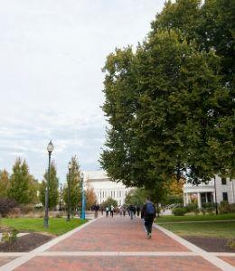 Students walking on the Widener campus