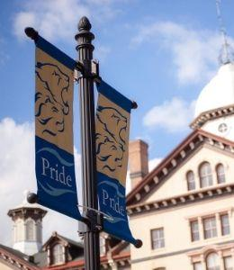 Pride Banners in front of Old Main