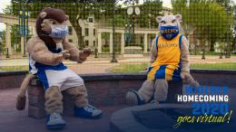 widener mascots around a firepit