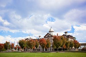old main building in the fall