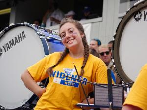 Widener band student smiles