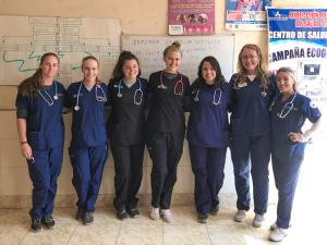 Nursing students abroad in a clinic in Peru