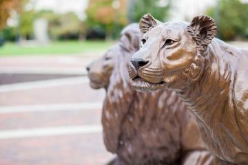 Close up of Pride statue on campus