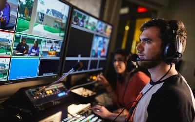 Students in Media Control Room
