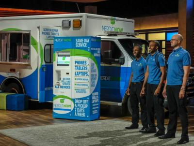 Widener alumnus Markevis Gideon and his businss partners on Shark Tank tv show