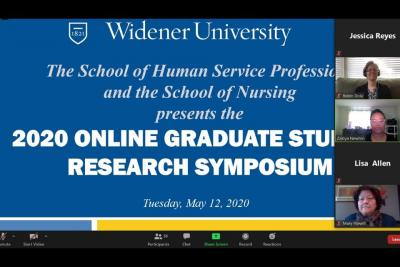 Screen shot of the Zoom conference featuring graduate research presentations