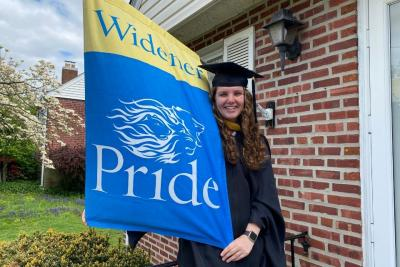Arden Vizzard with Widener flag