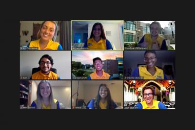 Nine student orientation leaders on a Zoom Call