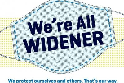 Mask that says We're All Widener