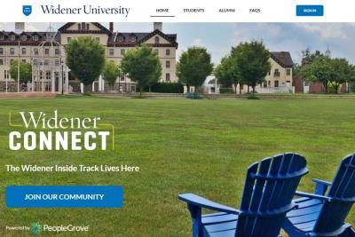 Screen shot of the WidenerCONNECT homepage
