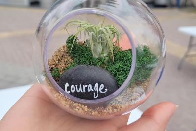 Hand holding an air plant in a bulb, with rock inside that says 'courage'