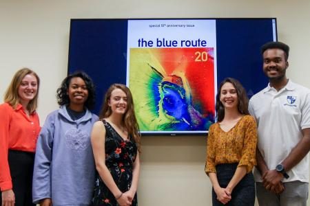 students with blue route anniversary cover