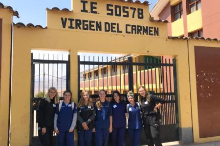 Nursing students in Peru as part of a population health class