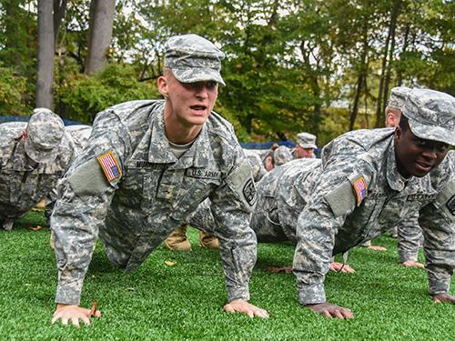 Military Students working out