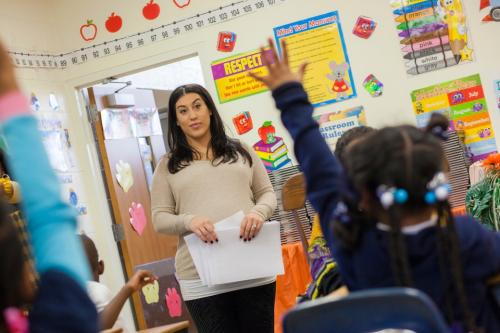 widener student teacher in elementary school classroom with students