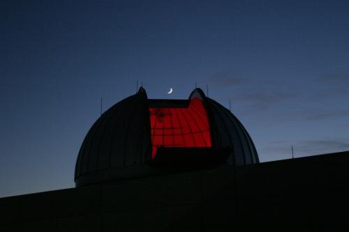 Widener Observatory Dome w/ Moon