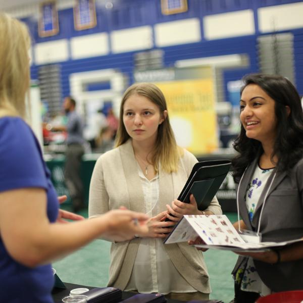 Students networking during on-campus event