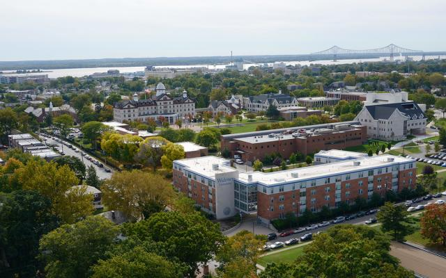 widener aerial campus shot