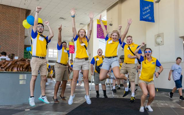 Widener students cheering on admitted students