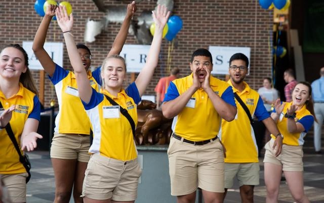 orientation CREW leaders welcome students to campus