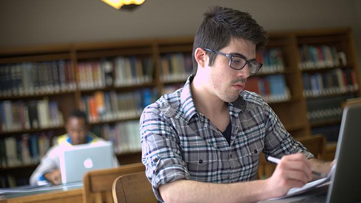 online student at library