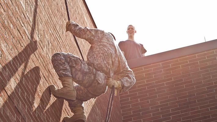 Army ROTC Repelling Training