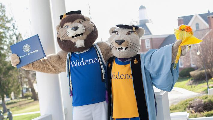 Widener mascots in commencement gowns