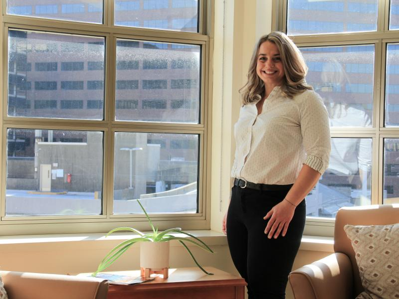 Kelly Quinn in an office at the Philadelphia Parking Authority